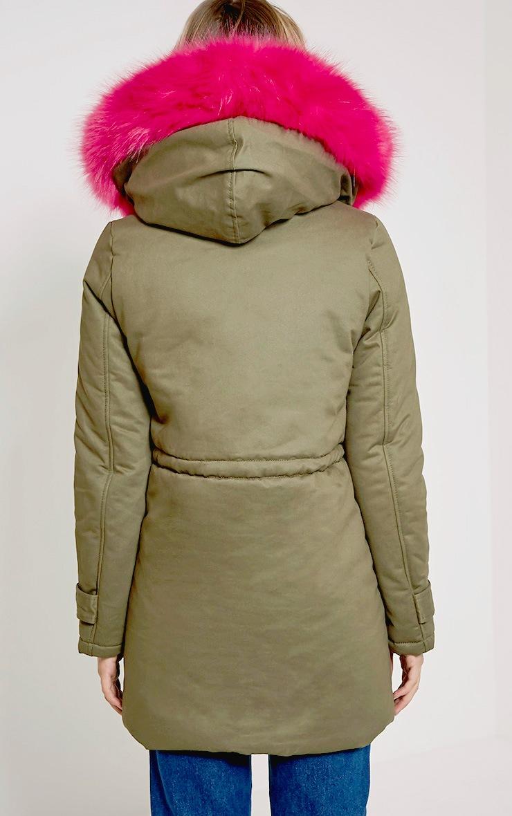 Jen Fuchsia Fur Lined Premium Parka 2
