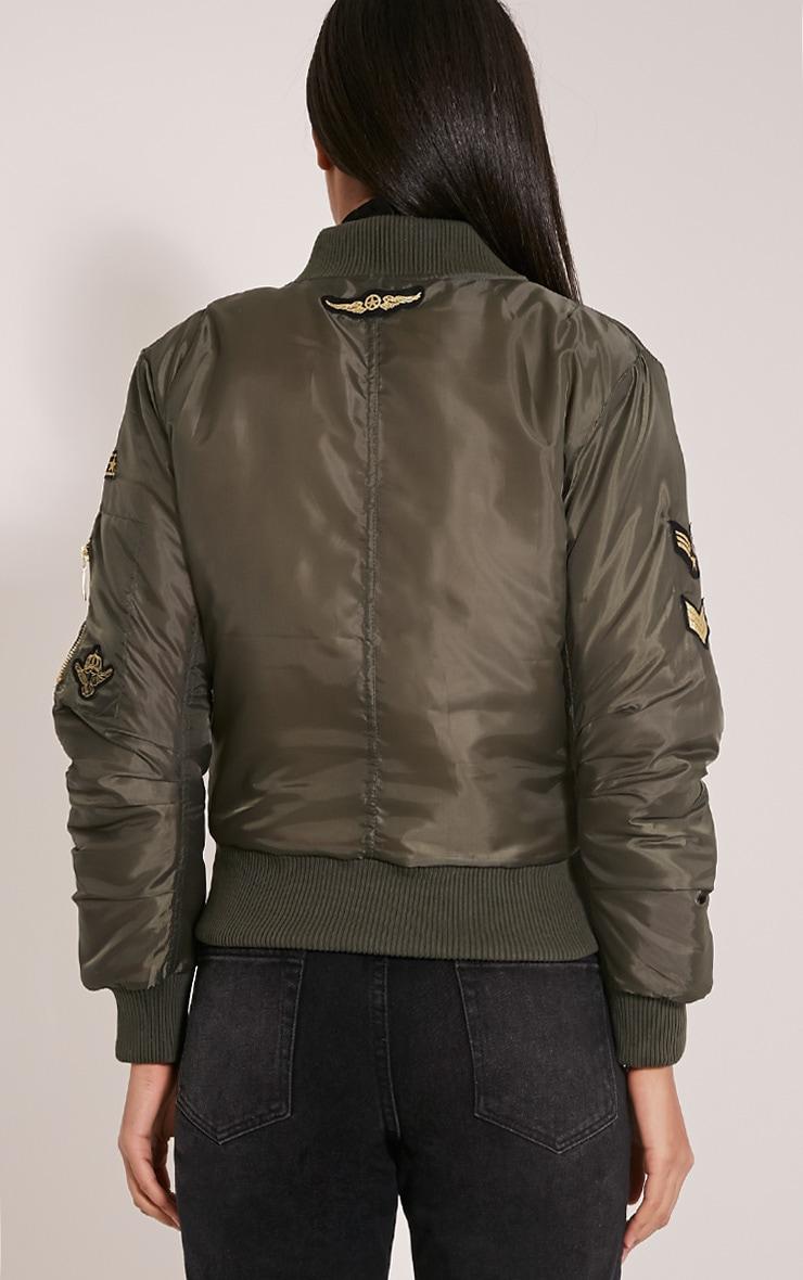 Joya Khaki Utility Badge Bomber Jacket 2
