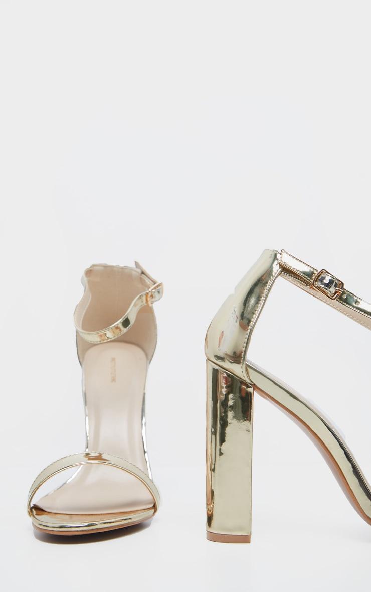 Clover Gold Metallic Strap Heeled Sandals 4