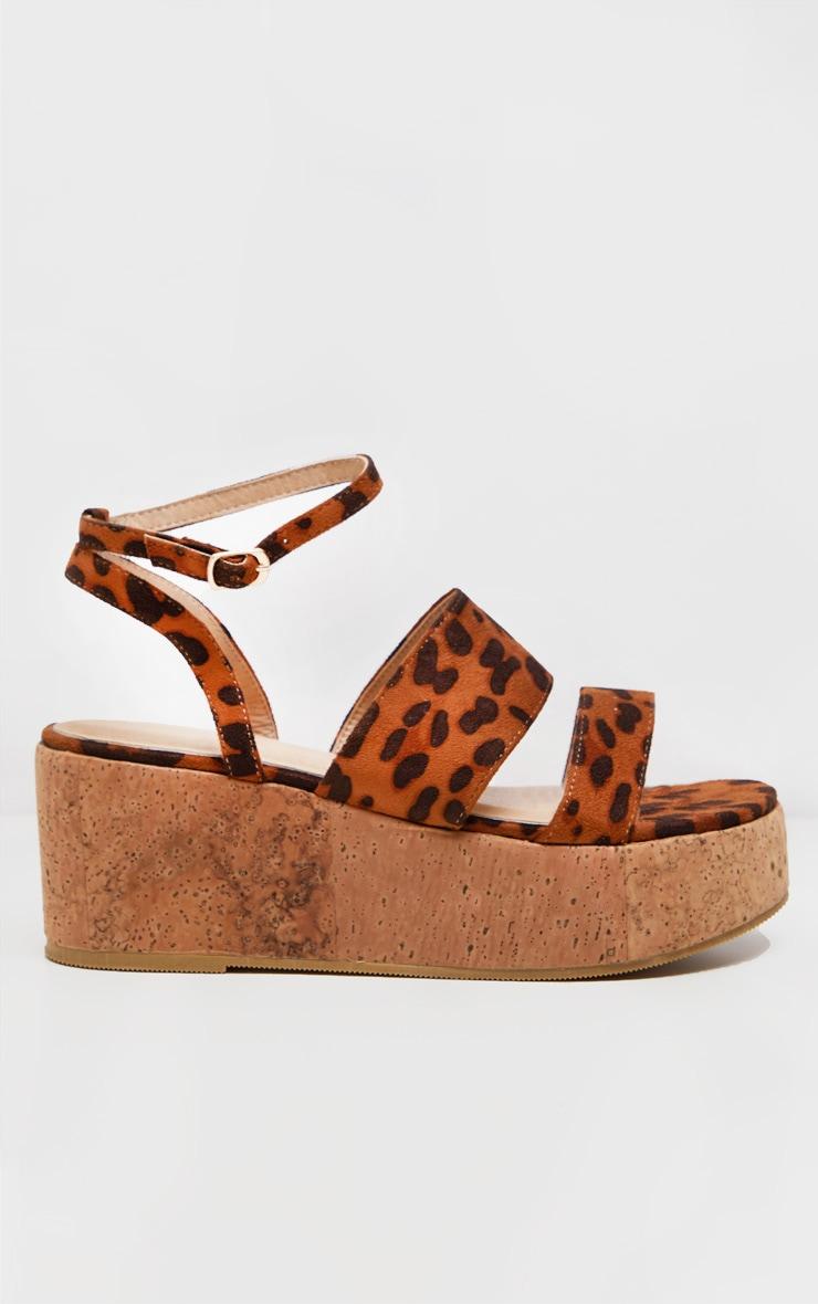 Leopard Twin Strap Cork Flatform Sandal 3