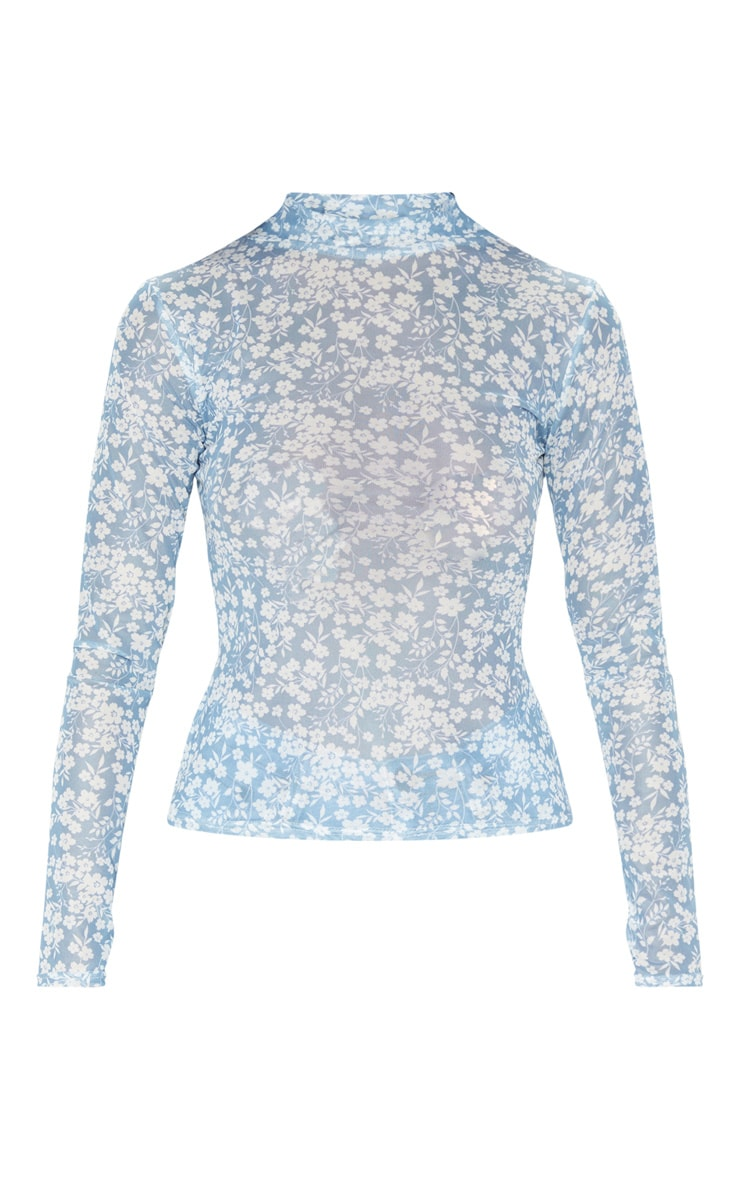 Blue Floral Printed Mesh High Neck Long Sleeve Top 3
