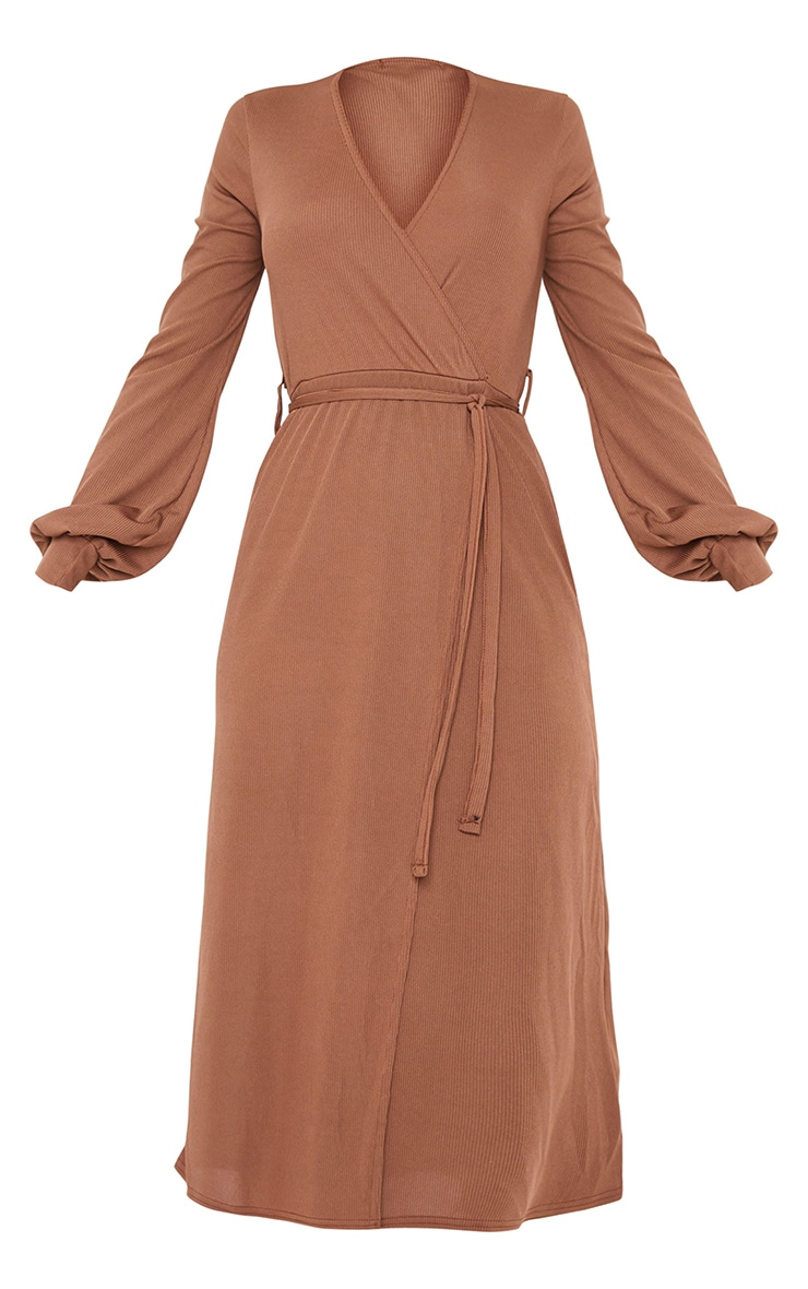 Chocolate Rib Tie Waist Long Sleeve Maxi Dress 5
