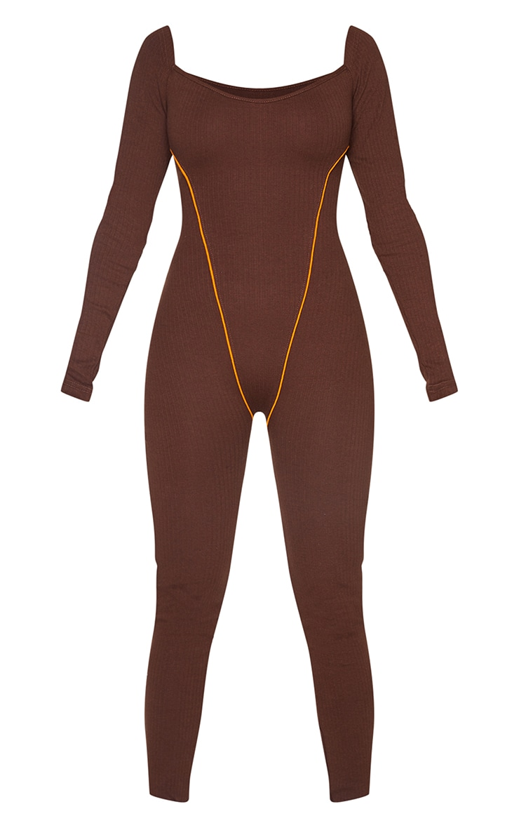 Chocolate Thick Rib Contrast Seam Detail Jumpsuit 5