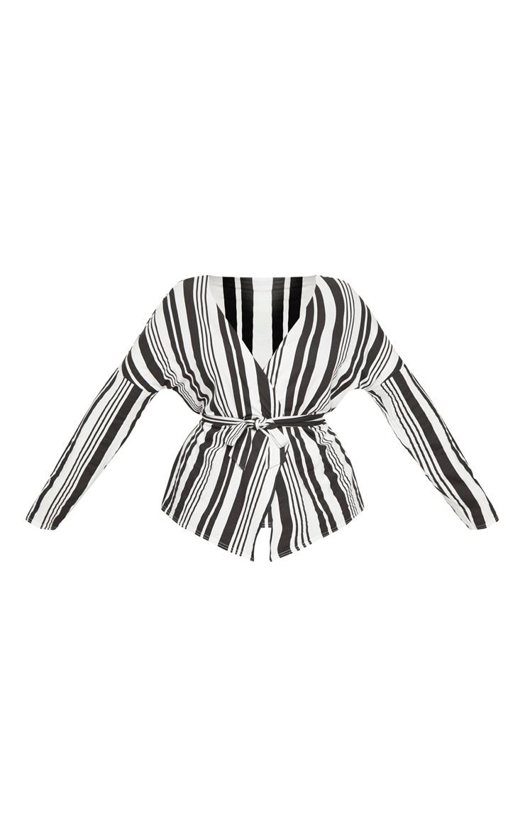 PLT Plus- Chemisier en jersey rayé noir et blanc noué à la taille 3
