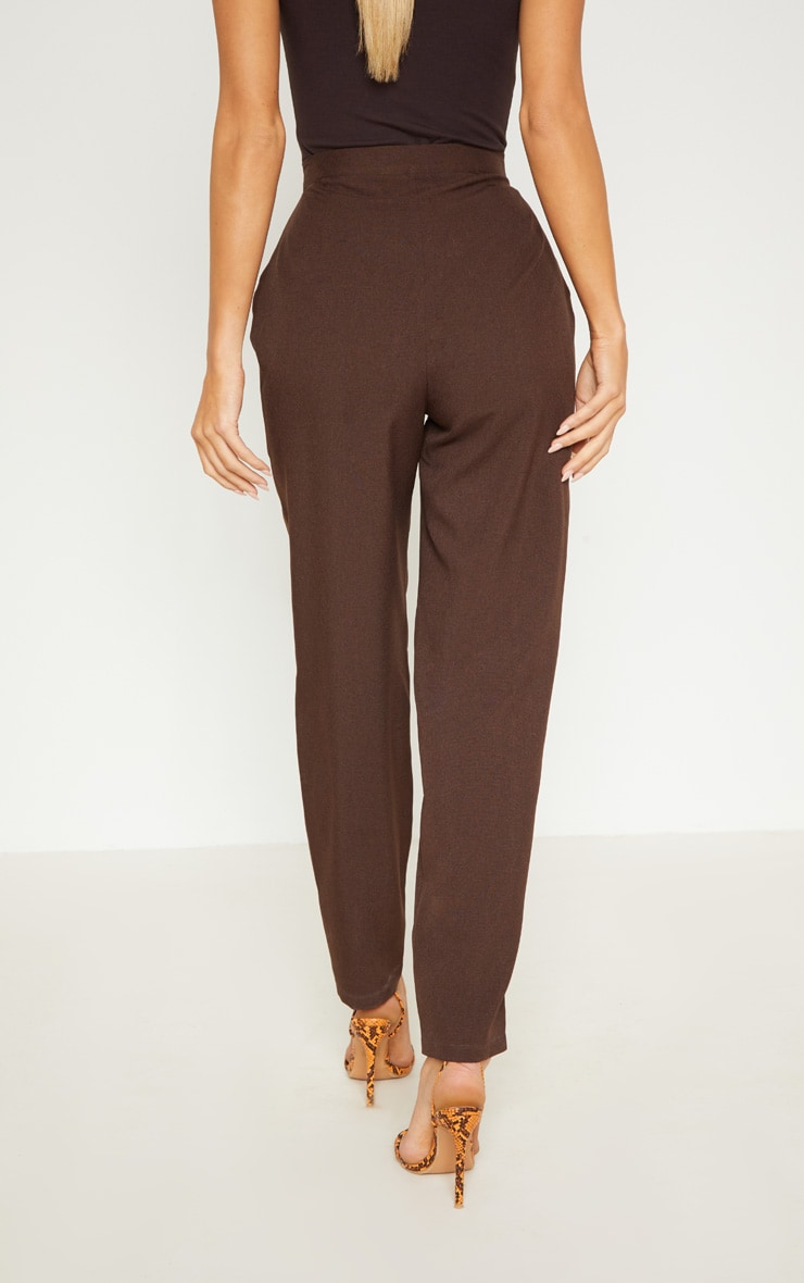 Chocolate High Waisted Slim Leg Trouser 4