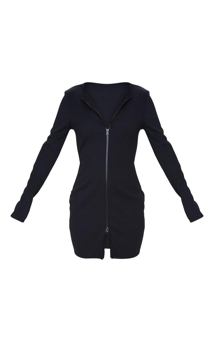 Black Jumbo Rib Double Zip Bodycon Dress 3