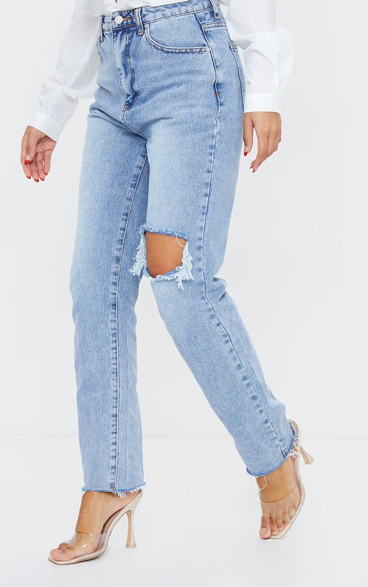 Vintage Wash Blue Raw Hem Knee Rip Mom Jeans 2