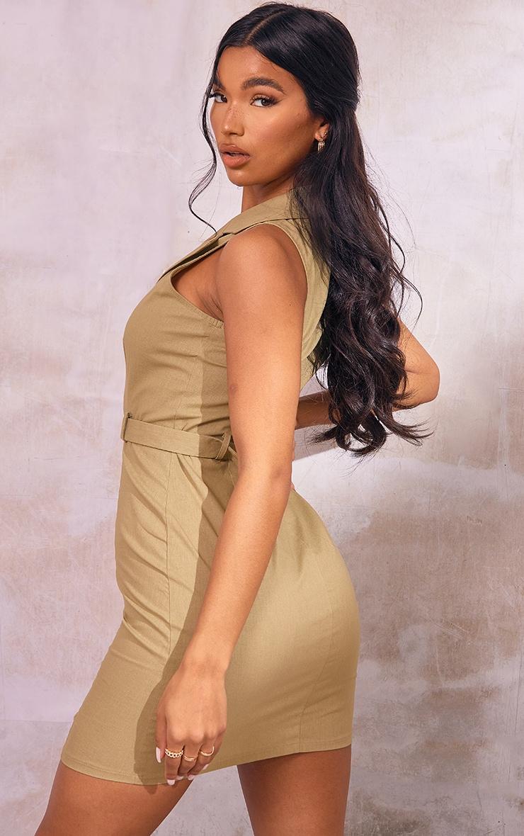 Khaki Linen Look Button Down Belted Sleeveless Bodycon Dress 2