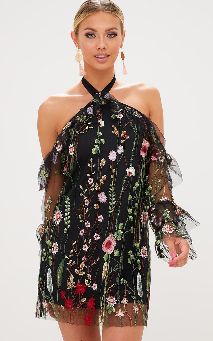 Black Embroidered Lace Halterneck Shift Dress 1