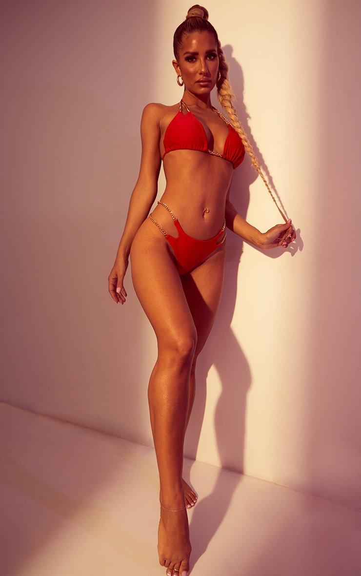 Red Chain Strap Triangle Bikini Top 3