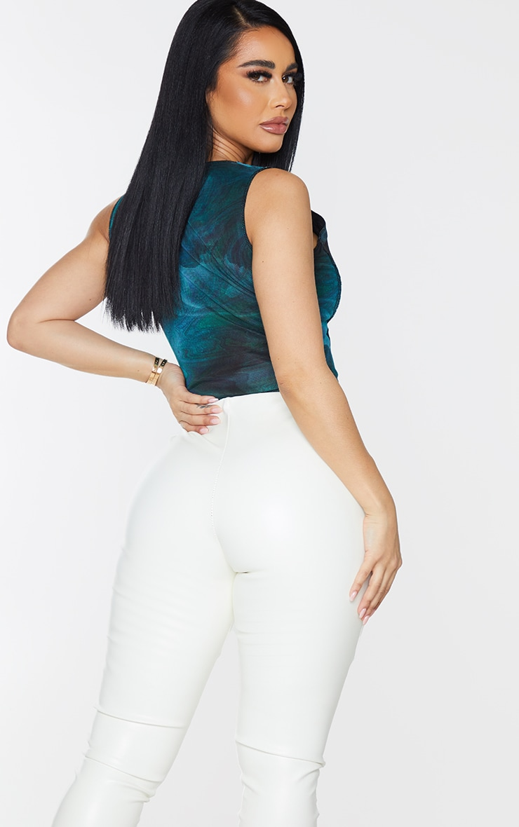 Shape Green Swirl Print Mesh Seam Detail Corset Crop Top 2