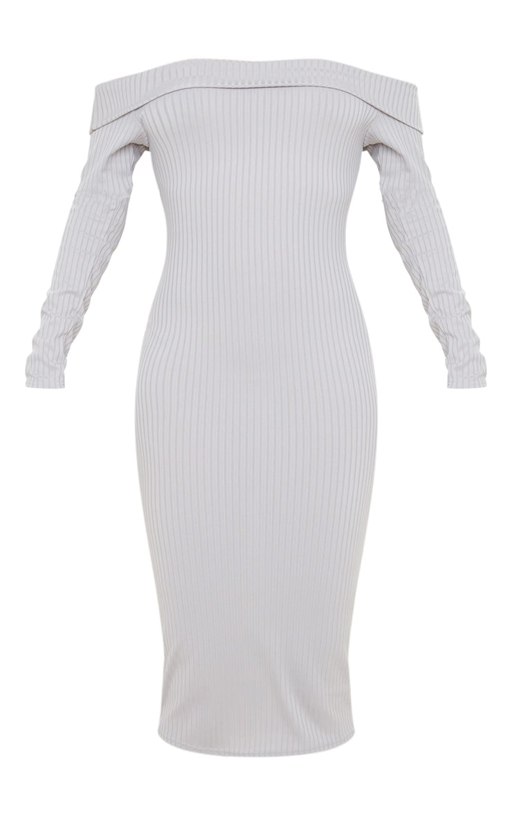 Grey Ribbed Folded Bardot Midi Dress 3