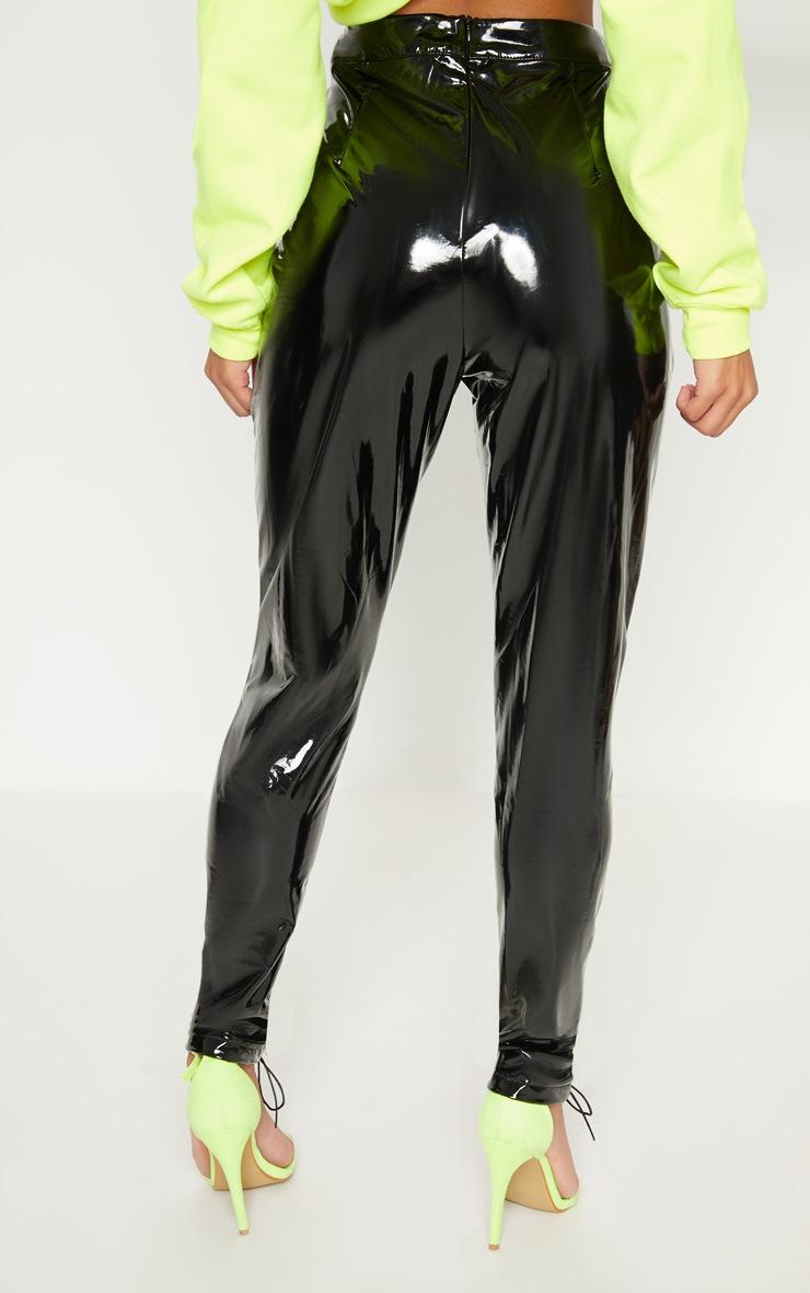 Black Vinyl Lace Up Detail Trouser 4