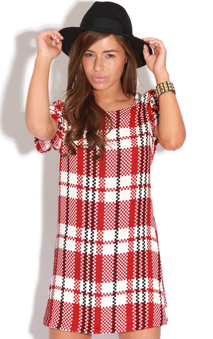 Bridie Red And White Tartan Shift Dress 1