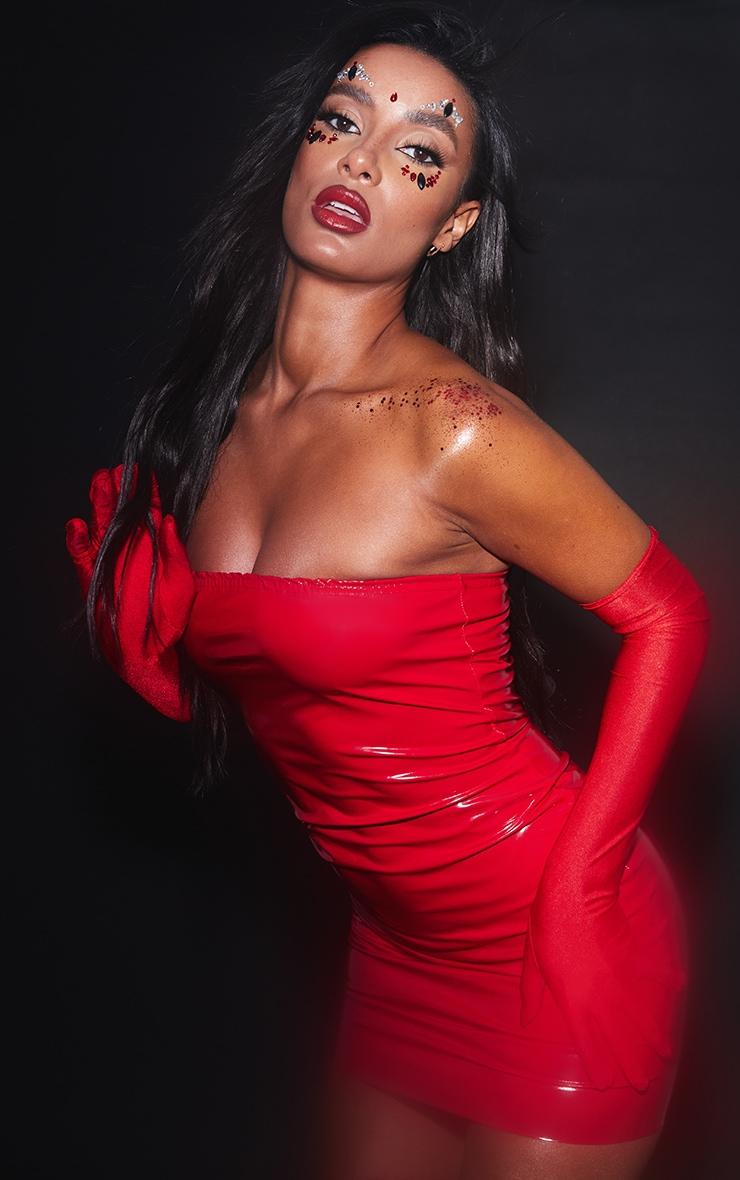 Red PU Bandeau Bodycon Dress 5
