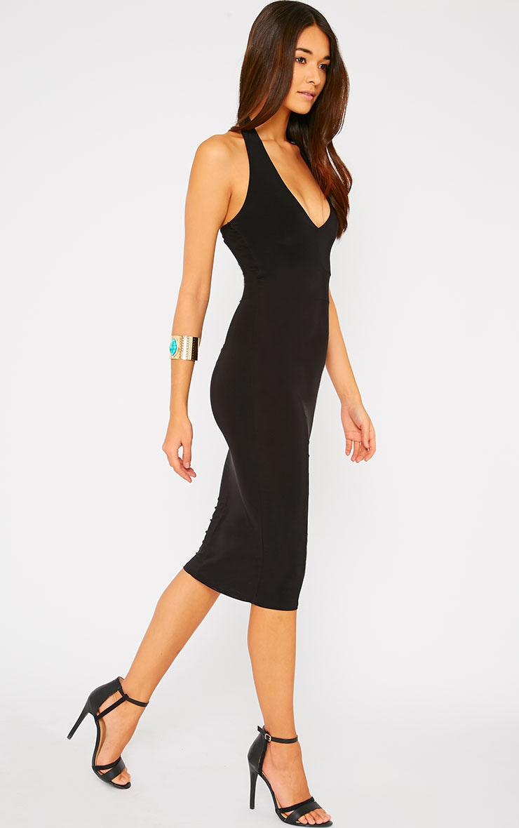 Lilly Black Slinky Halterneck Midi Dress 4