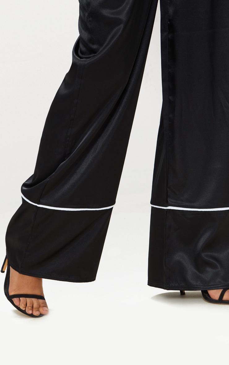 Black Satin Contrast Trim Wide Leg Trousers 5