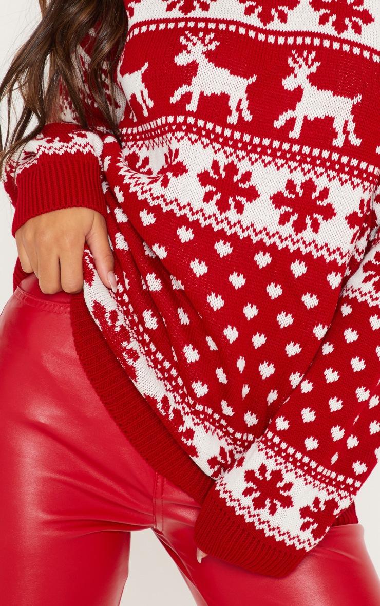 Red Fairisle Knitted Jumper 5