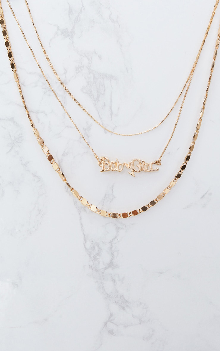 Gold Triple Layered Baby Girl Slogan Necklace 2