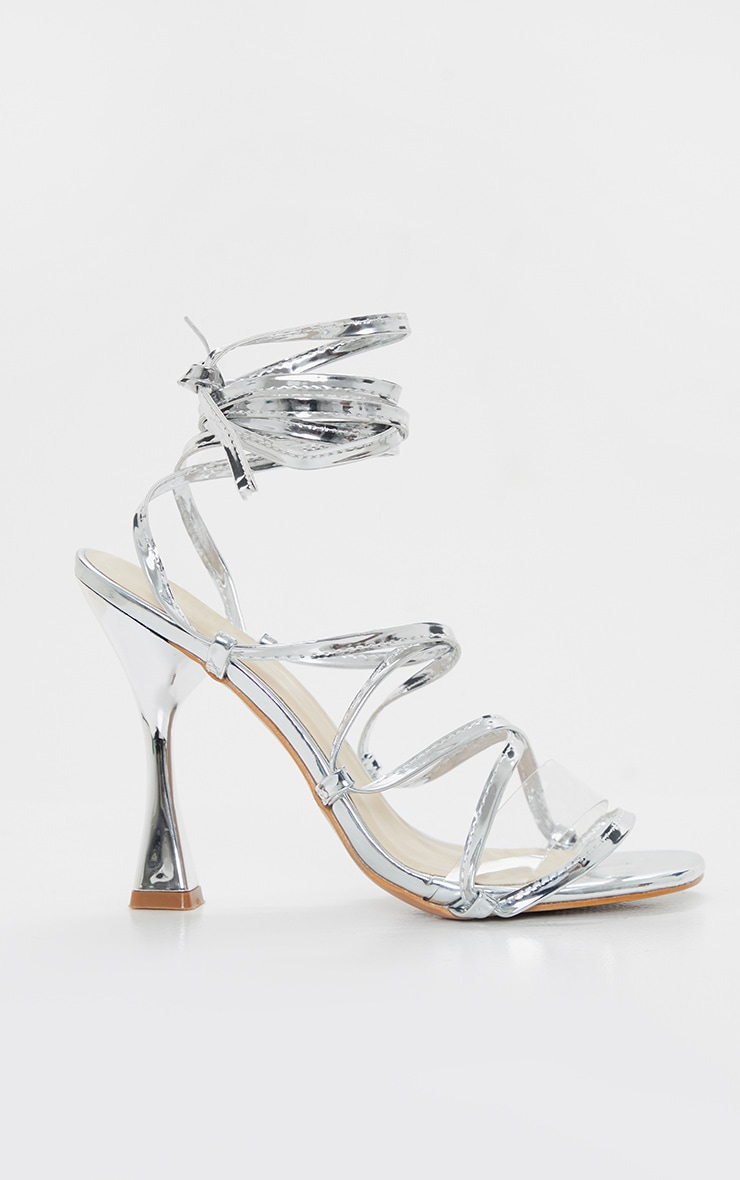 Silver Flared Heel Ghillie Lace Up Sandal 3