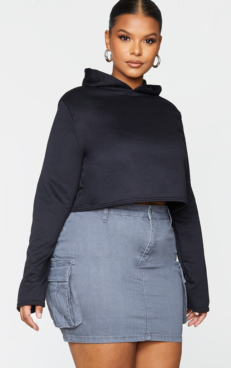 Plus Grey Denim Cargo Pocket Skirt 1