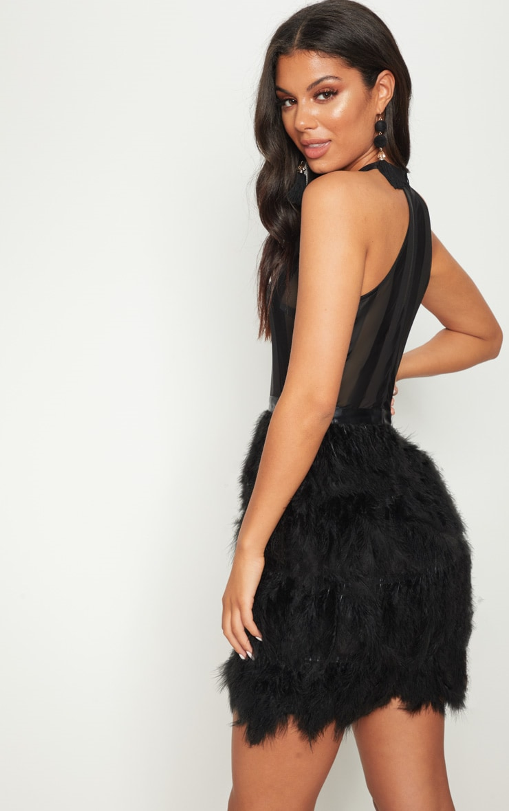 Black High Neck Sleeveless Mesh Feather Bodycon Dress 2