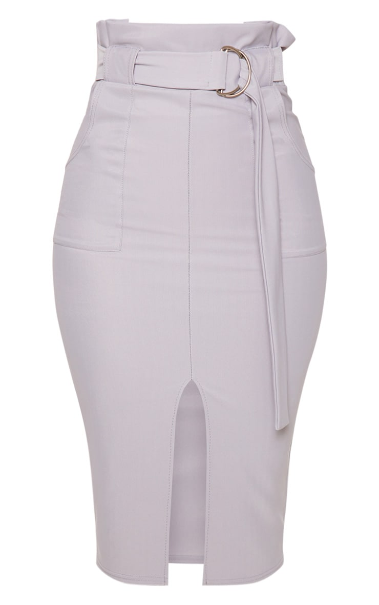 Pale Grey Fine Rib Belted Paperbag Midi Skirt 3