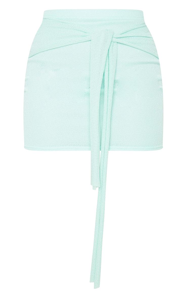 Mint Lightweight Knit Tie Front Mini Skirt 6
