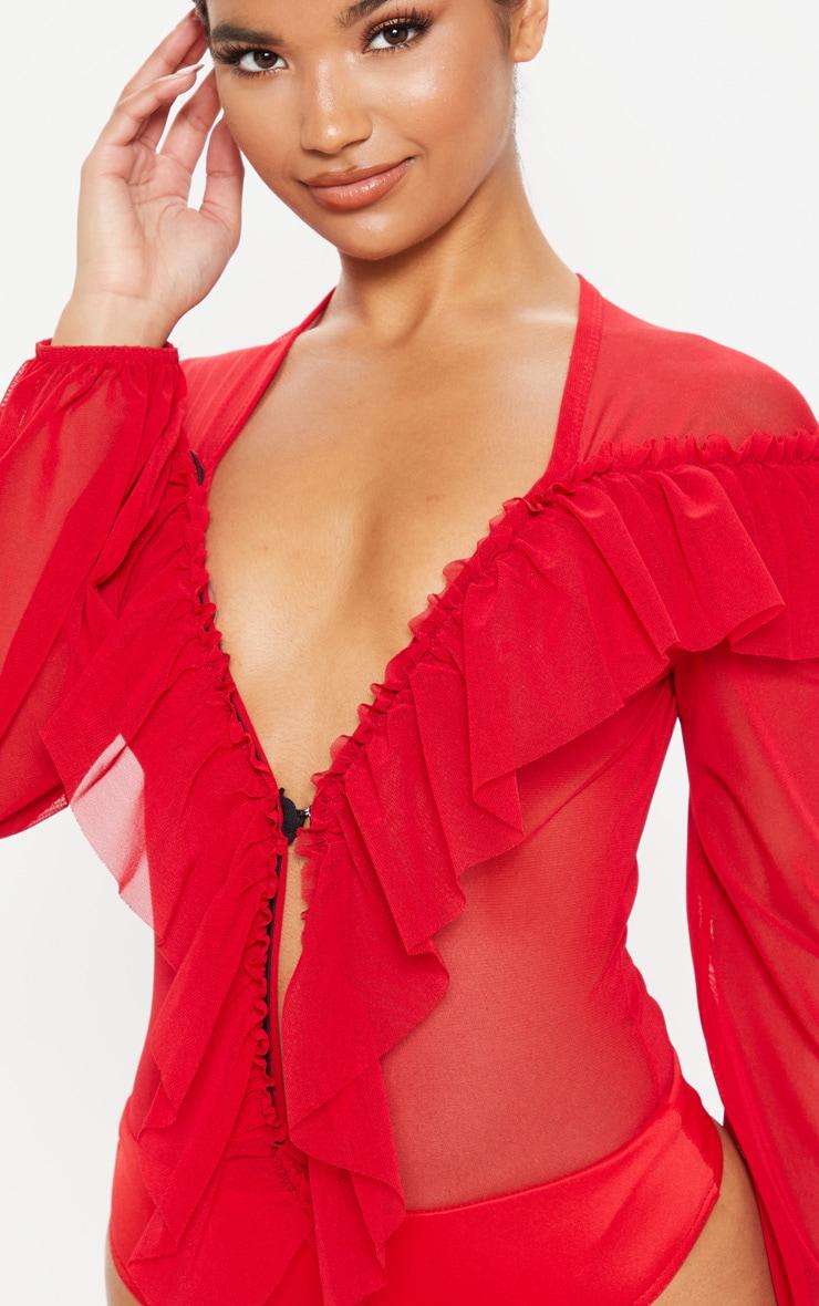 Red Ruffle Mesh Plunge Bodysuit 6