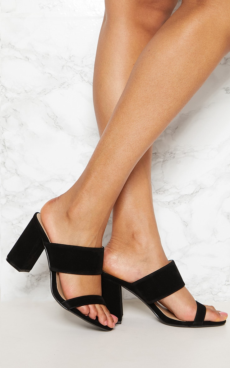 Black Twin Strap Block Heel Mule 1