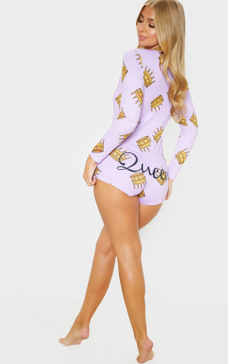Lilac Queen Printed PJ Romper 5