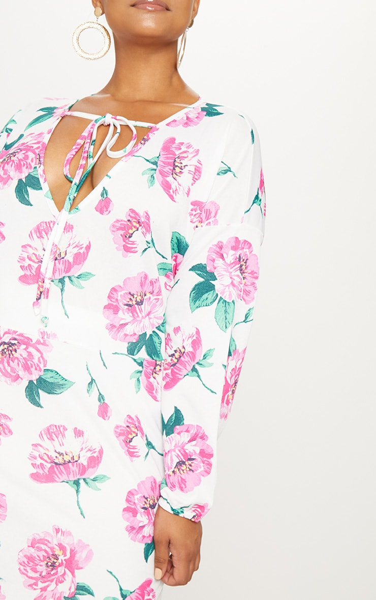 Plus White Floral Print Tie Detail Floaty Top 5