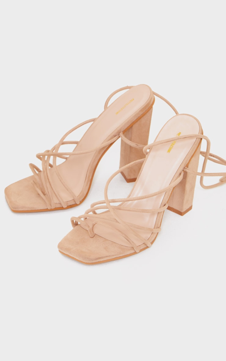 Nude Suede Strappy Toe Loop Lace Up High Block Heels 3