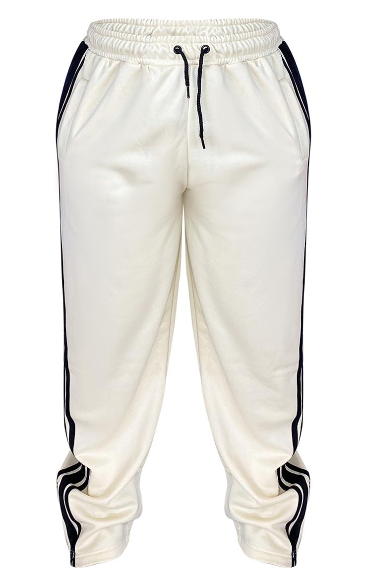 Plus Cream Side Stripe Zip Hem Drawstring Joggers 5