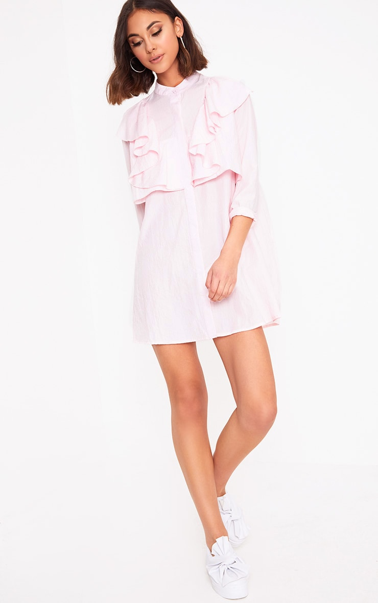 Nude Frill Front Shirt Dress 4