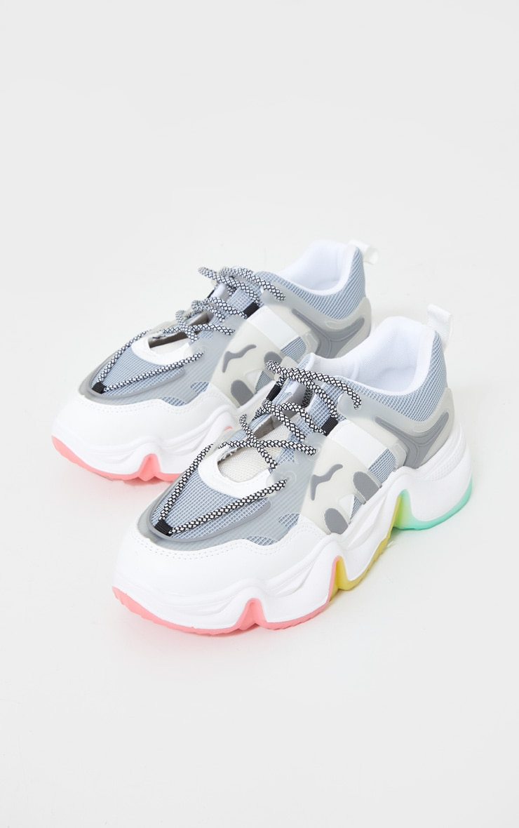 Grey Chunky Multi Wave Sole Trainers 3