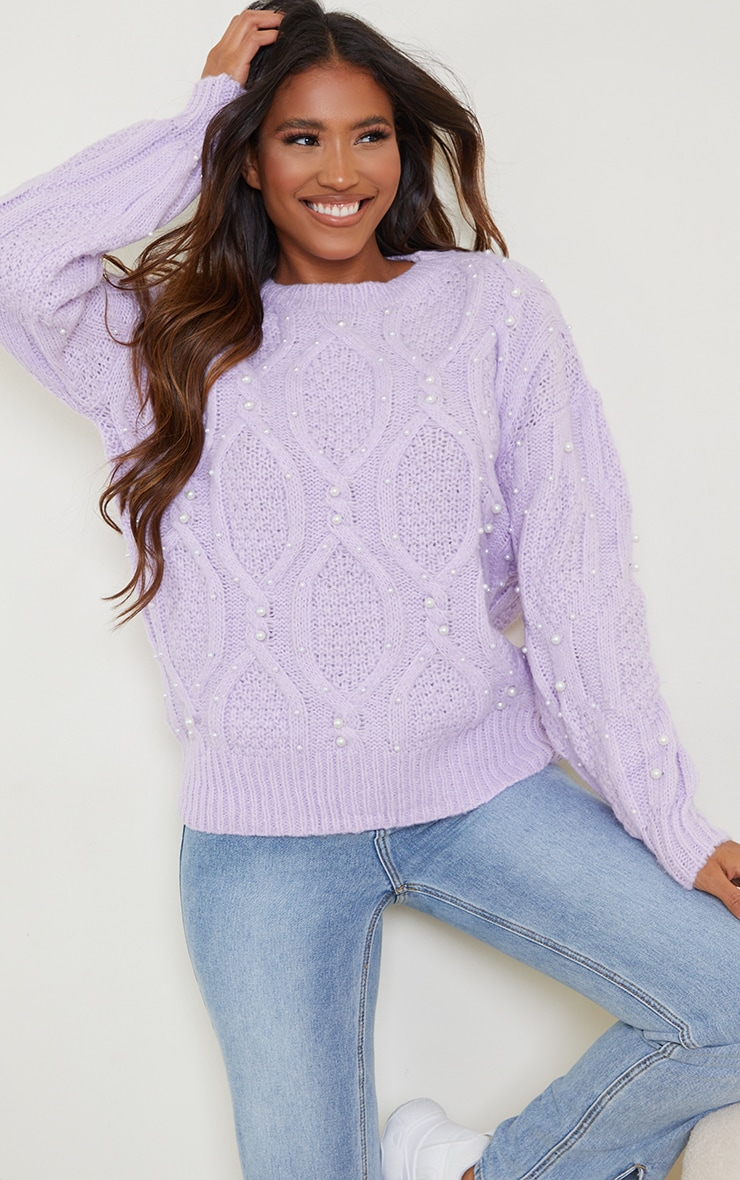 Lilac Premium Embellished Cable Sweater 1