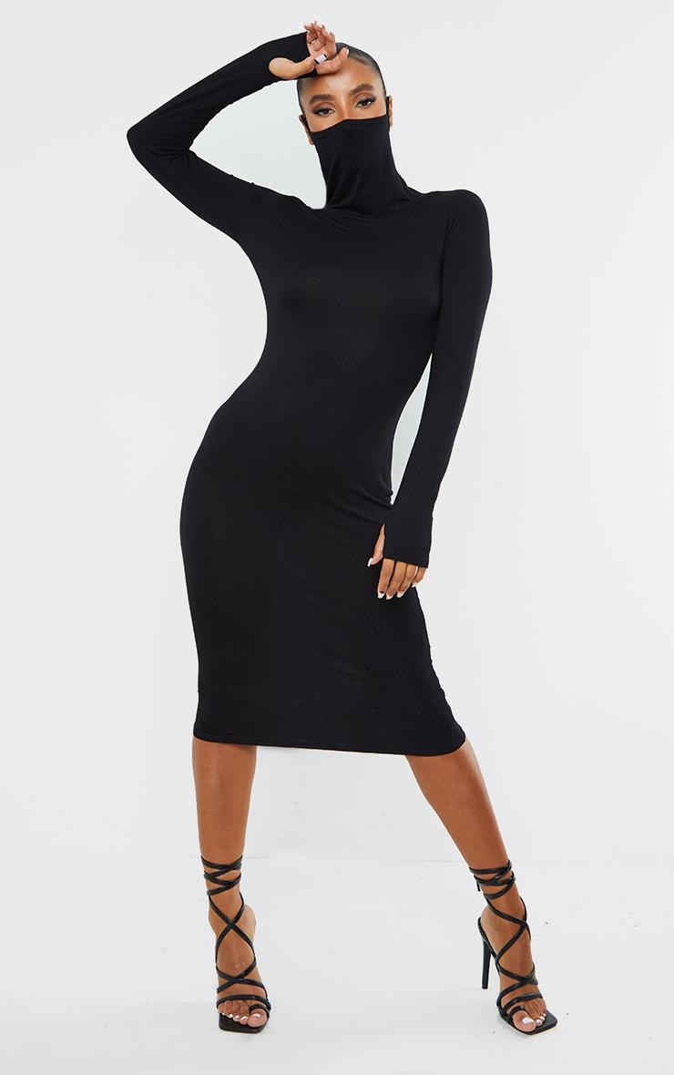 Black Jersey Long Sleeve Mask Midi Dress 1