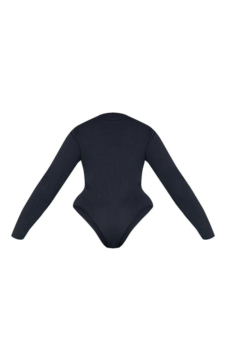 RECYCLED Plus Black Crew Neck Long Sleeve Bodysuit 5