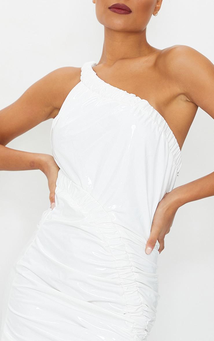 White Vinyl One Shoulder Asymmetric Ruched Bodycon Dress 4