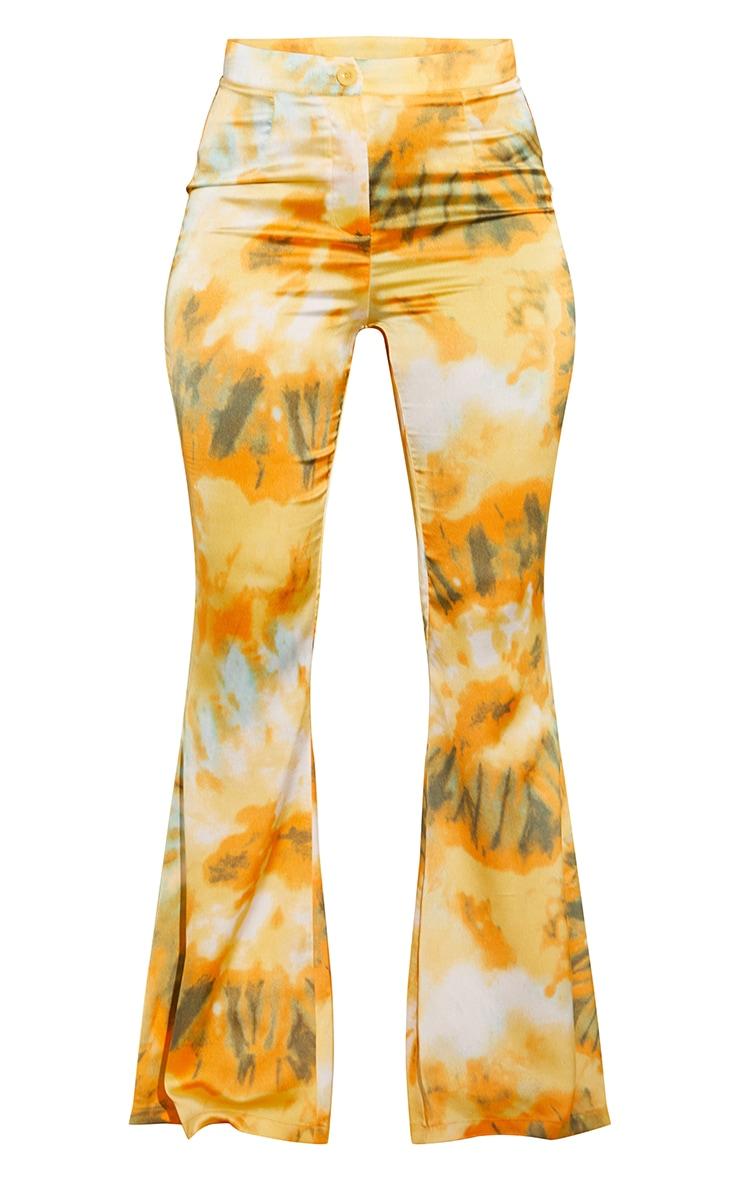 Orange Woven Flared Pants 5