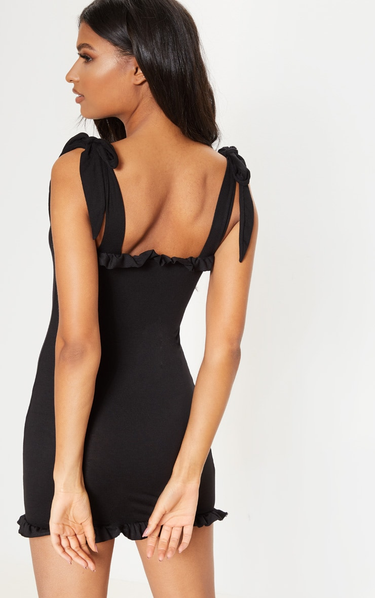 Black Frill Tie Shoulder Bodycon Dress 2
