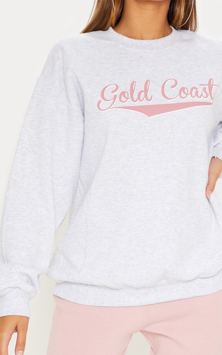 Grey Gold Coast Slogan Oversized Sweater 5