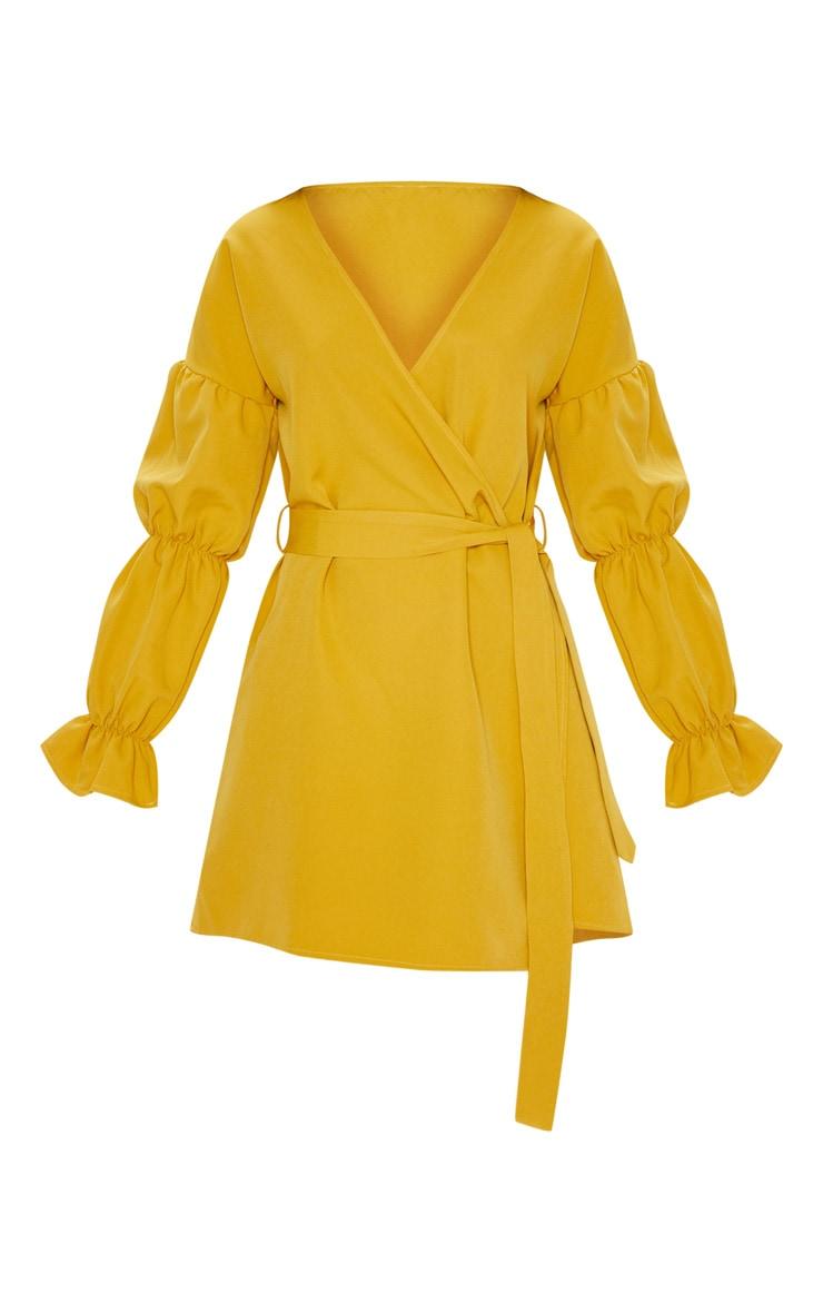 Mustard Wrap Puff Sleeve Shift Dress 2