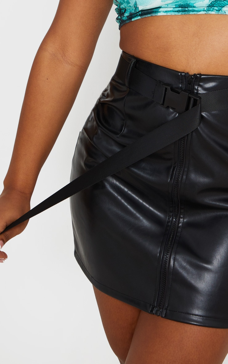 Black Faux Leather Zip Detail Belted Mini Skirt 6