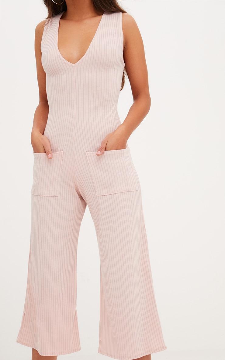 Pink Ribbed Culotte Pocket Jumpsuit 5