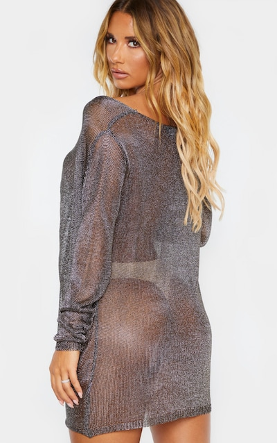 Pewter Metallic Twist Front Knitted Dress