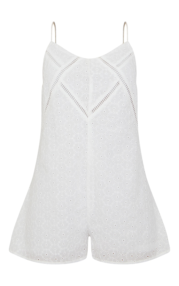 White Broderie Anglaise Strappy Smock Romper 5