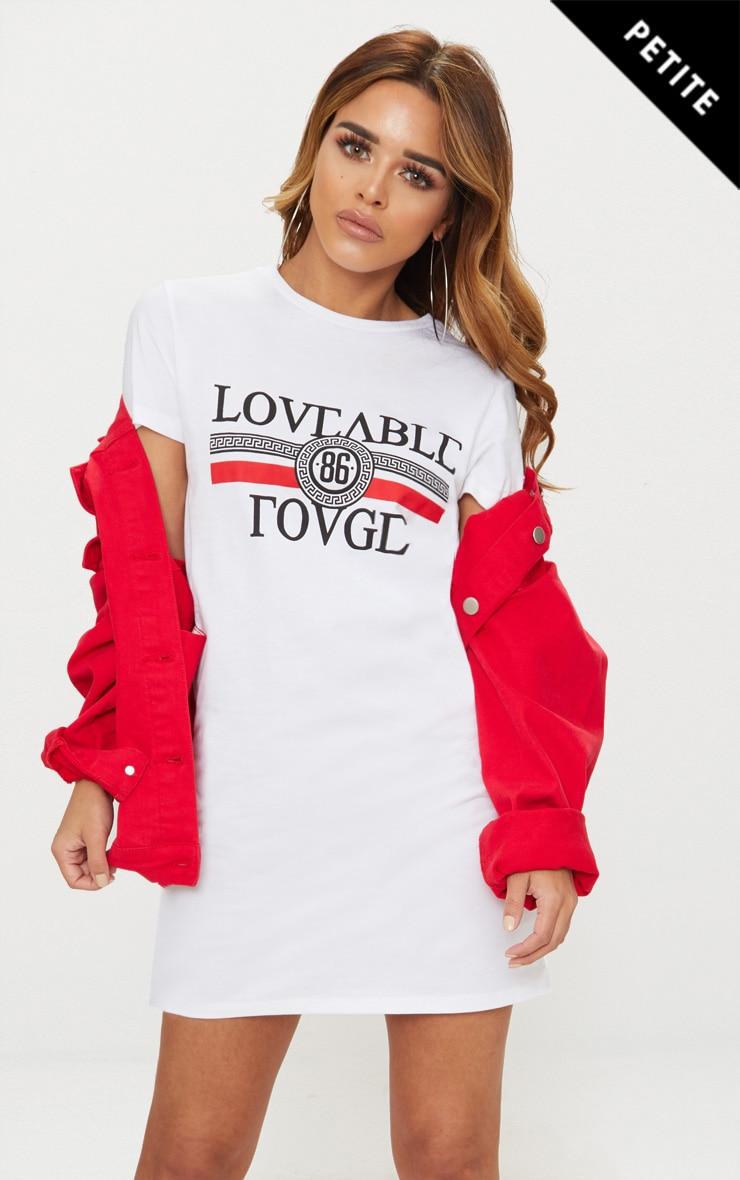 Petite White Loveable Rouge Slogan T-Shirt Dress 1