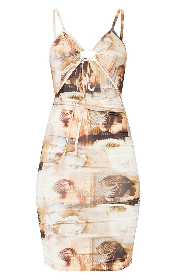 Multi Renaissance Print Slinky Ruched Tie Detail Bodycon Dress 5